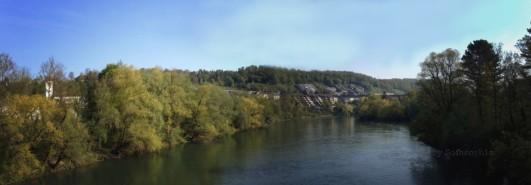 Panorama ab Aarebrücke Richtung Dorf