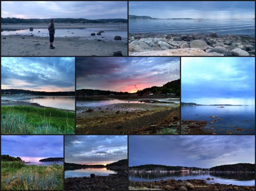 Diverse Strandsonnenuntergangsstimmungsbilder als Collage