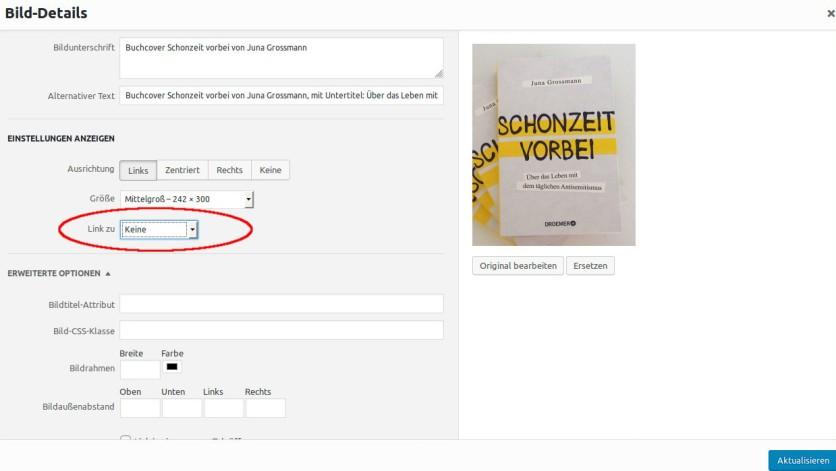Screenshot, der die Bildbearbeitungsdetails auf Wordpress zeigt.